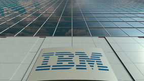 Signage board with IBM logo. Modern office building facade. Editorial 3D rendering Royalty Free Stock Photography