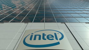 Signage board with Intel Corporation logo. Modern office building facade. Editorial 3D rendering. Outdoor signage board with Intel Corporation logo. Modern Stock Photos