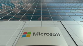 Signage board with Microsoft logo. Modern office building facade. Editorial 3D rendering Royalty Free Stock Photos