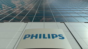 Signage board with Philips logo. Modern office building facade. Editorial 3D rendering Stock Image