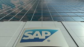 Signage board with SAP SE logo. Modern office building facade time lapse. Editorial 3D rendering