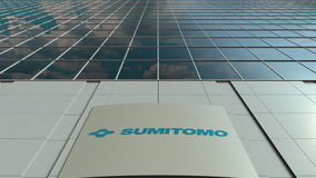 Signage board with Sumitomo Corporation logo. Modern office building facade. Editorial 3D rendering. Outdoor signage board with Sumitomo Corporation logo. Modern Royalty Free Stock Photo
