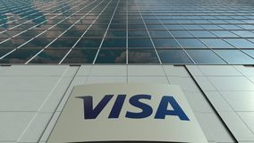 Signage board with Visa Inc. logo. Modern office building facade time lapse. Editorial 3D rendering. Outdoor signage board with Visa Inc. logo. Modern office stock video
