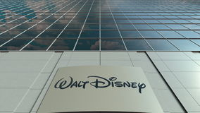 Signage board with Walt Disney Pictures logo. Modern office building facade. Editorial 3D rendering. Outdoor signage board with Walt Disney Pictures logo. Modern Stock Image