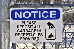 Signage d'enlèvement des ordures photo libre de droits
