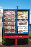 Signage de carte de Burger King Photos libres de droits