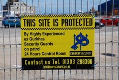 Signage de garde de sécurité, Folkestone Photo libre de droits