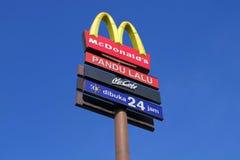 Signage de McDonald's Imagem de Stock