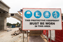 Signage de sécurité de chantier de construction Images libres de droits