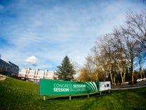 Signage de session du congrès devant le bâtiment du Conseil de l'Europe Photo stock