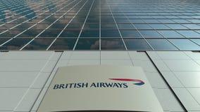 Signage deska z British Airways logem nowoczesne fasadowy biuro budynku Redakcyjny 3D rendering royalty ilustracja