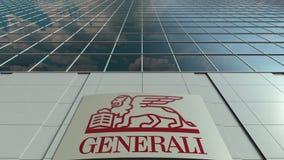 Signage deska z Generali grupy logem nowoczesne fasadowy biuro budynku Redakcyjny 3D rendering Zdjęcie Stock
