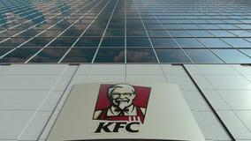 Signage deska z Kentucky Fried Chicken KFC logem nowoczesne fasadowy biuro budynku Redakcyjny 3D rendering Zdjęcia Stock