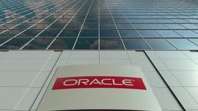 Signage deska z Oracle Corporation logem nowoczesne fasadowy biuro budynku Redakcyjny 3D rendering Obraz Royalty Free