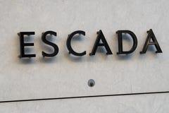 Signage do boutique de Escada Foto de Stock