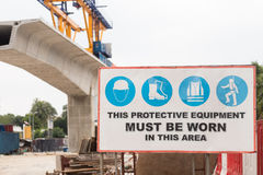 Signage för säkerhet för konstruktionsplats Royaltyfri Fotografi