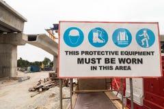 Signage för säkerhet för konstruktionsplats Royaltyfria Bilder