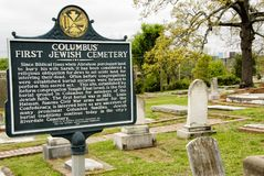 Signage for First Jewish Cemetery in Columbus Georgia USA royalty free stock photo