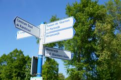 Signage in a forest in Almere, The Netherlands. stock photo