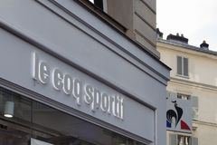 Signage of French sportswear brand store Stock Photography