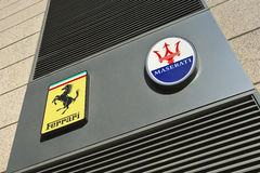 Signage of Italian sports car brands Ferrari and Maserati, Beijing, China Stock Image