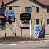 Signage of Joe Byrne, NDP PEI, and Tim Keizer, PEI PC Party, for the provincial election 2019 in the historic downtown stock images