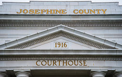 Signage on the Josephine County Courthouse in Grants Pass Oregon. Front entrance to the historic Josephine County Courthouse in Grants Pass Oregon Stock Photo