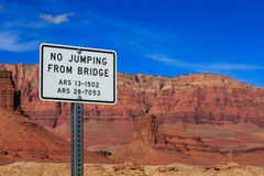 Signage with jumping restrictions on a foot bridge, Arizona, US. Signage with jumping restrictions on a foot bridge, Arizona, United States Stock Photos