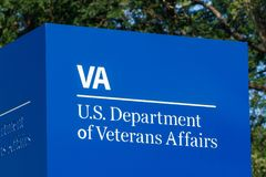 Fort Wayne - Circa August 2018: Signage and logo of the U.S. Department of Veterans Affairs III. Signage and logo of the U.S. Department of Veterans Affairs. The stock image