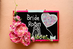 Signage mit Benennung Braut-Raum Stockfotos