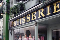 Signage of a patisserie in Saint-Germain area Stock Images
