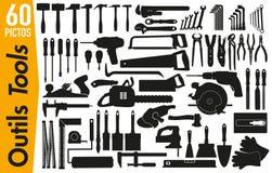 60 signage pictogrammen op de hulpmiddelen van DIY en van de decoratie vector illustratie