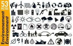 53 signage pictogrammen op het milieu en de ecologie vector illustratie