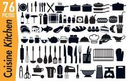 76 signage pictogrammen op keukengereiinsecten vector illustratie