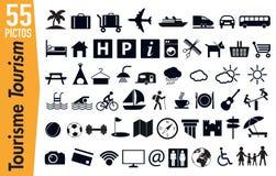 55 signage pictogrammen op toerisme en vakantie royalty-vrije illustratie