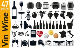 47 signage pictograms on wine and grapevine vector illustration