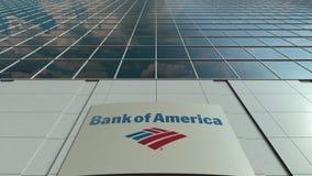Signage raad met Bank van het embleem van Amerika Moderne de bureaubouw voorzijde Het redactie 3D teruggeven Royalty-vrije Stock Afbeeldingen