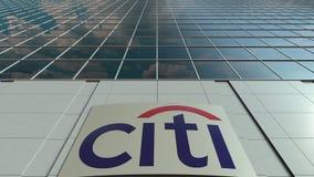 Signage raad met Citigroup-embleem Moderne de bureaubouw voorzijde Het redactie 3D teruggeven Royalty-vrije Stock Foto