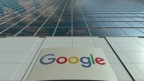 Signage raad met Google-embleem Moderne de bureaubouw voorzijde Het redactie 3D teruggeven Stock Foto's