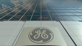 Signage raad met het embleem van General Electric GE Moderne de bureaubouw voorzijde Het redactie 3D teruggeven Royalty-vrije Stock Afbeelding