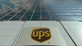 Signage raad met het embleem van United Parcel Service UPS Moderne de bureaubouw voorzijde Het redactie 3D teruggeven Royalty-vrije Stock Fotografie
