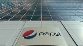 Signage raad met Pepsi-embleem Moderne de bureaubouw voorzijde Het redactie 3D teruggeven Stock Afbeelding