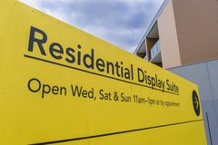 Signage of residential display suite Stock Image