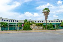 The Sangster International Airport in Montego Bay, Jamaica. Signage at the Sangster International Airport in Montego Bay, Jamaica stock photos