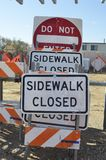 Signage for Sidewalk Closed Stock Images