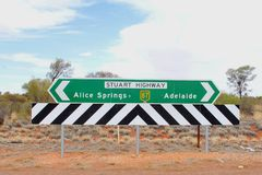 Signage To Adelaide And Alice Springs, Stuart Highway, Australia Stock Photos