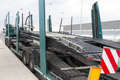 Signage on a truck platform. Large vehicle platform, signposted for car transport by road Stock Photos