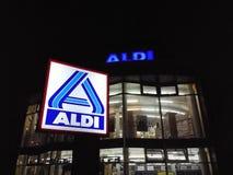 Signage van de Aldisupermarkt Stock Afbeelding
