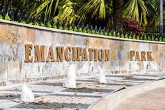 Entrance to the Emancipation Park in New Kingston, Jamaica stock photo