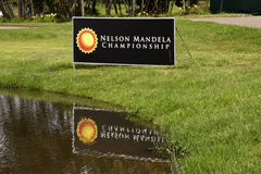 Signage at Water Hazard at Mount Edgecomb Colf Club. DURBAN, SOUTH AFRICA - DECEMBER 14, 2013: Siigboard at edge of water hazard on ninth fairway at the Nelson Royalty Free Stock Photos